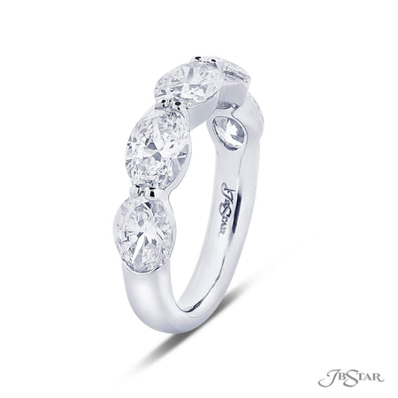 Exquisite diamond wedding band featuring 5 GIA certified oval diamonds in our east to west design. Handcrafted in pure platinum. [details] Stone Information SHAPE TYPE WEIGHT Oval Diamond 3.58 ctw. [enddetails] | JB Star 5325-001 Anniversary & Wedding
