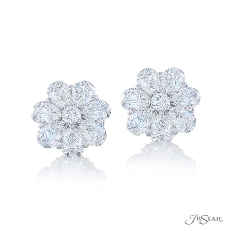 Beautiful diamond stud earrings featuring pear shape and round diamonds. Handcrafted in pure platinum. [details] Stone Information SHAPE TYPE WEIGHT Pear Diamond 4.48 ctw. Round Diamond 0.29 ctw. [enddetails] | JB Star 5328-003 Earrings