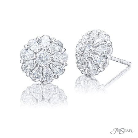 5328-007 | Diamond Stud Earrings Round & Pear Cut Shared Prong Setting