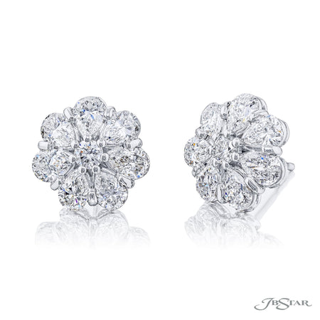 5328-008 | Floral Diamond Earrings Round 3.27 ctw. Shared Prong