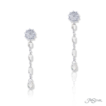 Stunning diamond drop earrings featuring briolette diamonds and hung by kite diamonds. Handcrafted in pure platinum. [details] Stone Information SHAPE TYPE WEIGHT Briolette Diamond 9.88 ctw. Kite Diamond 1.82 ctw. [enddetails] | JB Star 5329-001 Earrings
