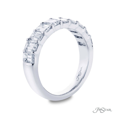 Dazzling diamond wedding band featuring 10 beautifully matched emerald-cut diamonds in a shared prong setting. Handcrafted in pure platinum. [details] Stone Information SHAPE TYPE WEIGHT Emerald Diamond 2.40 ctw. [enddetails] | JB Star 5330-001 Anniversary & Wedding
