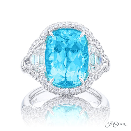 5334-001 | Paraiba & Diamond Ring 7.18 ct. Cushion Cut Front View