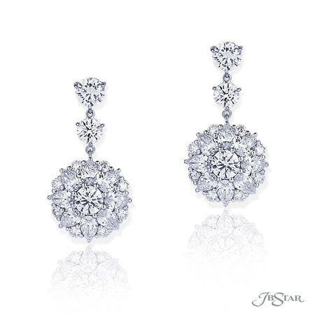 Stunning diamond drop earrings featuring round and pear shape diamonds in a beautiful design. Handcrafted in pure platinum. [details] Stone Information SHAPE TYPE WEIGHT Pear Diamond 4.03 ctw. Round Diamond 3.32 ctw [enddetails] | JB Star 5336-001 Earrings