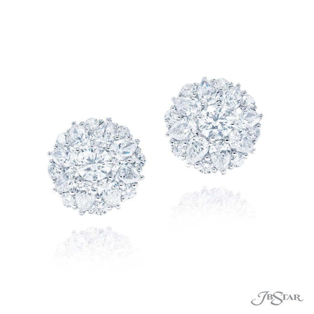 Gorgeous diamond stud earrings featuring round diamond centers encircled by pear shape and round diamonds. Handcrafted in pure platinum. [details] Stone Information SHAPE TYPE WEIGHT Pear Diamond 4.02 ctw. Round Diamond 2.46 ctw [enddetails] | JB Star 5336-003 Earrings