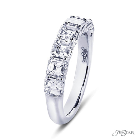 Gorgeous diamond wedding band featuring 7 perfectly matched square emerald cut diamonds in shared prong setting. Handcrafted in pure platinum. [details] Stone Information SHAPE TYPE WEIGHT Square Emerald Diamond 2.57 ctw. [enddetails] | JB Star 5345-001 Anniversary & Wedding