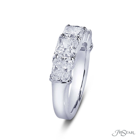 Gorgeous diamond wedding band featuring 5 radiant diamonds in our east to west design. Handcrafted in pure platinum. [details] Stone Information SHAPE TYPE WEIGHT Radiant Diamond 3.48 ctw. [enddetails] | JB Star 5349-001 Anniversary & Wedding