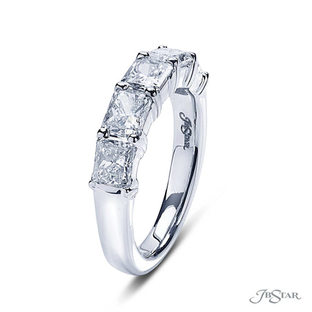 Stunning diamond wedding band featuring 5 radiant cut diamonds in an east to west shared prong setting. Handcrafted in pure platinum. [details] Stone Information SHAPE TYPE WEIGHT Radiant Diamond 2.25 ctw. [enddetails] | JB Star 5350-001 Anniversary & Wedding
