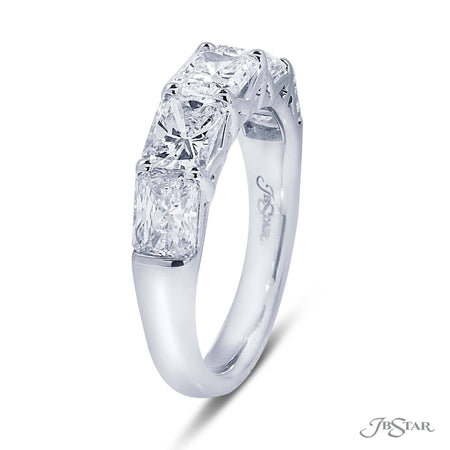 Dazzling diamond wedding band featuring 5 perfectly matched radiant cut diamonds in a shared prong setting. Handcrafted in pure platinum. [details] Stone Information SHAPE TYPE WEIGHT Radiant Diamond 2.74 ctw. [enddetails] | JB Star 5351-001 Anniversary & Wedding