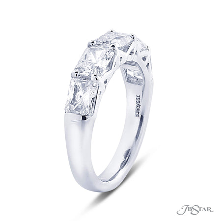 Gorgeous diamond wedding band featuring 5 radiant cut diamonds in an east to west design. Handcrafted in a pure platinum shared prong setting. Handcrafted in pure platinum. [details] Stone Information SHAPE TYPE WEIGHT Radiant Diamond 2.80 ctw. [enddetails] | JB Star 5353-001 Anniversary & Wedding