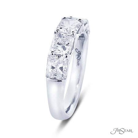 Gorgeous diamond wedding band featuring 5 perfectly matched radiant cut diamonds in a shared prong setting. Handcrafted in pure platinum. [details] Stone Information SHAPE TYPE WEIGHT Radiant Diamond 2.71 ctw. [enddetails] | JB Star 5353-002 Anniversary & Wedding