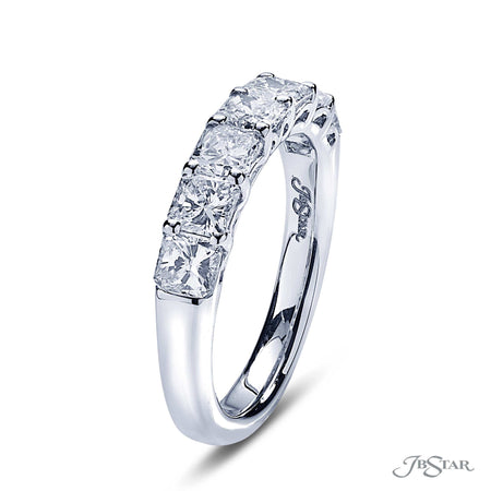 Stunning diamond wedding band featuring 7 radiant cut diamonds in a beautiful shared prong setting. Handcrafted in pure platinum. [details] Stone Information SHAPE TYPE WEIGHT Radiant Diamond 1.72 ctw. [enddetails] | JB Star 5359-001 Anniversary & Wedding