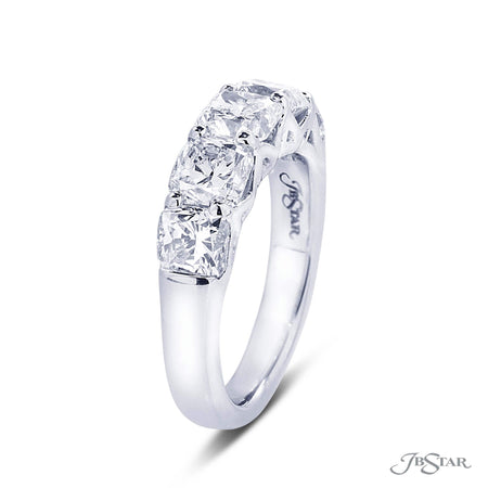 Dazzling diamond wedding band featuring 5 perfectly cushion cut diamonds in a shared prong setting. Handcrafted in pure platinum. [details] Stone Information SHAPE TYPE WEIGHT Cushion Diamond 3.45 ctw. [enddetails] | JB Star 5361-001 Anniversary & Wedding