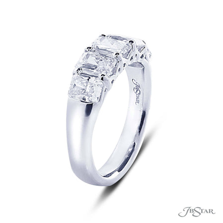 Dazzling diamond wedding band featuring 5 perfectly matched radiant cut diamonds in a shared prong setting. Handcrafted in pure platinum. [details] Stone Information SHAPE TYPE WEIGHT Radiant Diamond 2.25 ctw. [enddetails] | JB Star 5364-001 Anniversary & Wedding