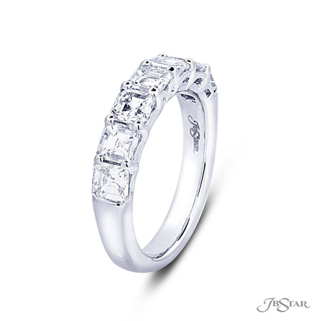Lovely diamond band featuring 7 beautifully matched square emerald diamonds in a shared prong setting. Handcrafted in pure platinum. [details] Stone Information SHAPE TYPE WEIGHT Square Emerald Diamond 2.66 ctw. [enddetails] | JB Star 5365-001 Anniversary & Wedding