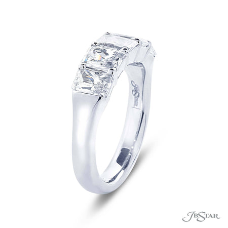 Gorgeous diamond wedding band featuring 5 perfectly match radiant cut diamonds in a shared prong setting. Handcrafted in pure platinum. [details] Stone Information SHAPE TYPE WEIGHT Radiant Diamond 2.37 ctw. [enddetails] | JB Star 5369-001 Anniversary & Wedding