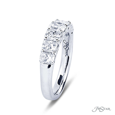 Dazzling diamond wedding band featuring a single row of perfectly matched radiant-cut diamonds in a shared prong setting. Handcrafted in pure platinum. [details] Stone Information SHAPE TYPE WEIGHT Radiant Diamond 1.81 ctw. [enddetails] | JB Star 5370-001 Anniversary & Wedding