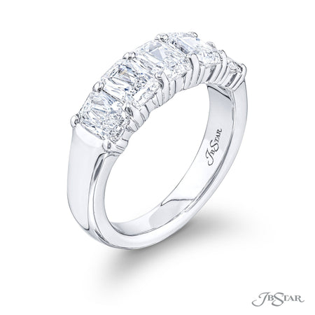 5375-001 | Diamond Wedding Band Radiant Cut 2.48 ctw. Shared Prong Side View