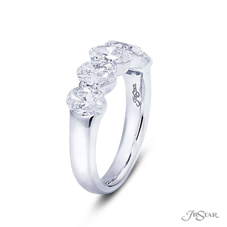Stunning diamond wedding band featuring 5 GIA certified oval diamonds in a shared prong setting. Handcrafted in pure platinum. [details] Stone Information SHAPE TYPE WEIGHT Oval Diamond 2.55 ctw. [enddetails] | JB Star 5381-001 Anniversary & Wedding