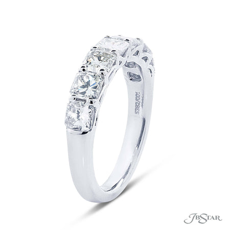 Gorgeous diamond wedding band featuring 7 radiant cut diamonds in a shared prong setting. Handcrafted in pure platinum. [details] Stone Information SHAPE TYPE WEIGHT Radiant Diamond 2.71 ctw. [enddetails] | JB Star 5382-001 Anniversary & Wedding