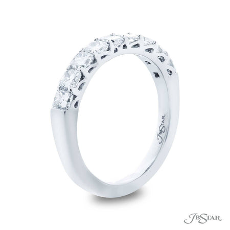 Dazzling diamond wedding band featuring 9 radiant-cut diamonds in a shared prong setting. Handcrafted in pure platinum. [details] Stone Information SHAPE TYPE WEIGHT Radiant Diamond 1.18 ctw. [enddetails] | JB Star 5387-005 Anniversary & Wedding