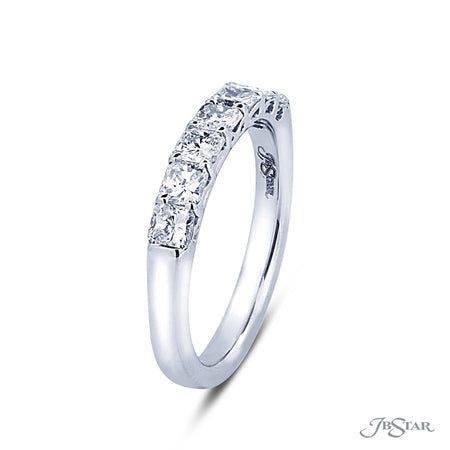 Beautiful diamond wedding band featuring 7 radiant cut diamonds in a shared prong setting. Handcrafted in pure platinum. [details] Stone Information SHAPE TYPE WEIGHT Radiant Diamond 1.02 ctw. [enddetails] | JB Star 5388-001 Anniversary & Wedding