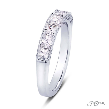 Beautiful diamond wedding band featuring 7 perfectly matched radiant-cut diamonds designed with a gorgeous gallery. Handcrafted in pure platinum. [details] Stone Information SHAPE TYPE WEIGHT Radiant Diamond 1.37 ctw. [enddetails] | JB Star 5389-001 Anniversary & Wedding