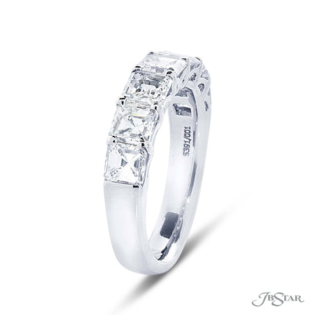 Gorgeous diamond wedding band featuring 7 perfectly matched square emerald cut diamonds in a shared prong setting. Handcrafted in pure platinum. [details] Stone Information SHAPE TYPE WEIGHT Square Emerald Diamond 2.94 ctw. [enddetails] | JB Star 5391-001 Anniversary & Wedding