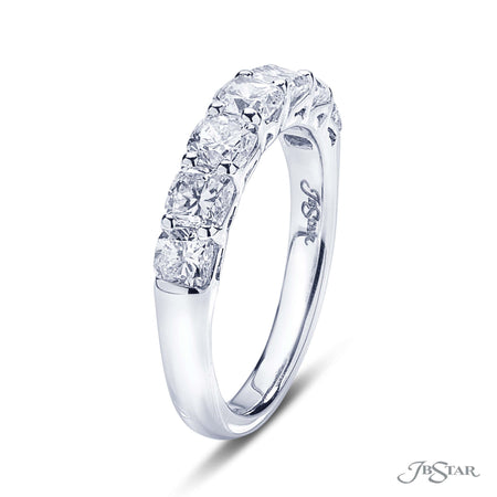 Dazzling diamond wedding band featuring 7 perfectly matched cushion cut diamonds in a shared prong setting. Handcrafted in pure platinum. [details] Stone Information SHAPE TYPE WEIGHT Cushion Diamond 2.02 ctw. [enddetails] | JB Star 5392-001 Anniversary & Wedding