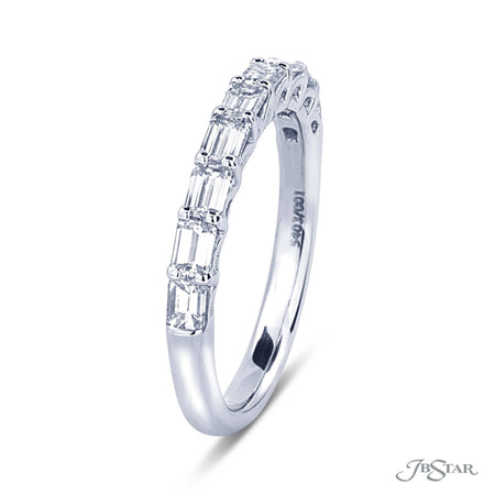 Beautiful diamond wedding band featuring 9 perfectly matched emerald cut diamonds in a shared prong setting. [details] Stone Information SHAPE TYPE WEIGHT Emerald Diamond 1.00 ctw. [enddetails] | JB Star 5403-001 Anniversary & Wedding