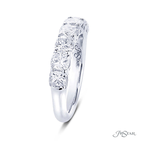 Beautiful diamond wedding band featuring 7 perfectly matched cushion cut diamonds in a shared prong setting. Handcrafted in pure platinum. [details] Stone Information SHAPE TYPE WEIGHT Cushion Diamond 2.46 ctw. [enddetails] | JB Star 5405-001 Anniversary & Wedding