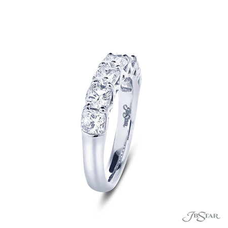 Dazzling diamond wedding band featuring 7 cushion cut diamonds in a shared prong setting. Handcrafted in pure platinum. [details] Stone Information SHAPE TYPE WEIGHT Cushion Diamond 2.40 ctw. [enddetails] | JB Star 5406-001 Anniversary & Wedding