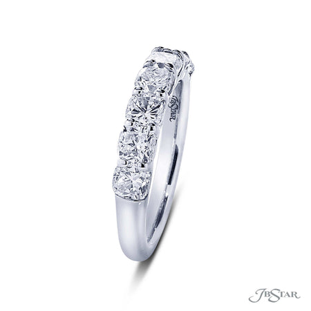 Beautiful diamond wedding band featuring 7 perfectly matched cushion cut diamonds in a shared prong setting. Handcrafted in pure platinum. [details] Stone Information SHAPE TYPE WEIGHT Cushion Diamond 2.08 ctw. [enddetails] | JB Star 5407-001 Anniversary & Wedding