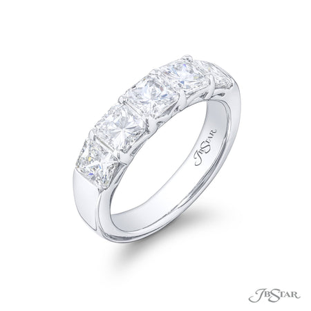Gorgeous diamond wedding band featuring 5 perfectly matched radiant-cut diamonds in a shared prong setting. Handcrafted in pure platinum. [details] Stone Information SHAPE TYPE WEIGHT Radiant Diamond 2.41 ctw. [enddetails] | JB Star 5408-011 Anniversary & Wedding
