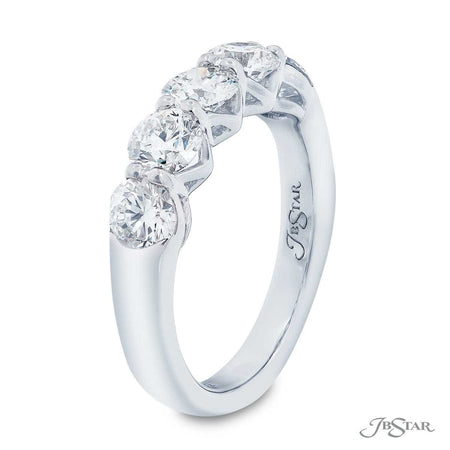 Gorgeous diamond wedding band featuring 5 perfectly matched round diamonds in a shared prong setting with a beautiful gallery design. Handcrafted in pure platinum. [details] Stone Information SHAPE TYPE WEIGHT Round Diamond 1.87 ctw. [enddetails] | JB Star 5411-002 Anniversary & Wedding