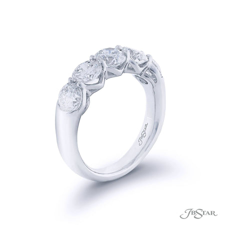 Gorgeous diamond wedding band featuring 5 perfectly matched round diamonds in a shared prong setting. Handcrafted in pure platinum. [details] Stone Information SHAPE TYPE WEIGHT Round Diamond 2.71 ctw. [enddetails] | JB Star 5413-006 Anniversary & Wedding