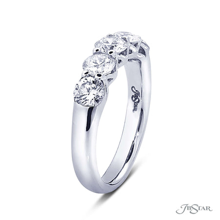 Dazzling diamond wedding band featuring 5 perfectly matched round diamonds in a shared prong setting with an exceptional gallery. Handcrafted in pure platinum. [details] Stone Information SHAPE TYPE WEIGHT Round Diamond 1.55 ctw. [enddetails] | JB Star 5414-002 Anniversary & Wedding