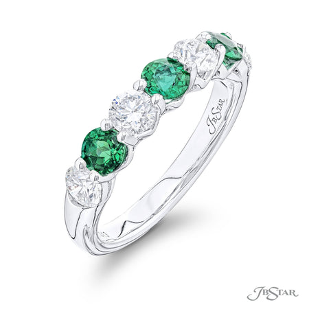 5417-013 | Emerald & Diamond Band Alternating Design 0.82 ctw. Side View