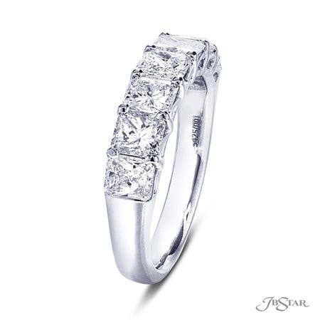 Dazzling diamond wedding band featuring 7 perfectly matched radiant cut diamonds in a shared prong setting. [details] Stone Information SHAPE TYPE WEIGHT Radiant Diamond 2.15 ctw. [enddetails] | JB Star 5425-001 Anniversary & Wedding
