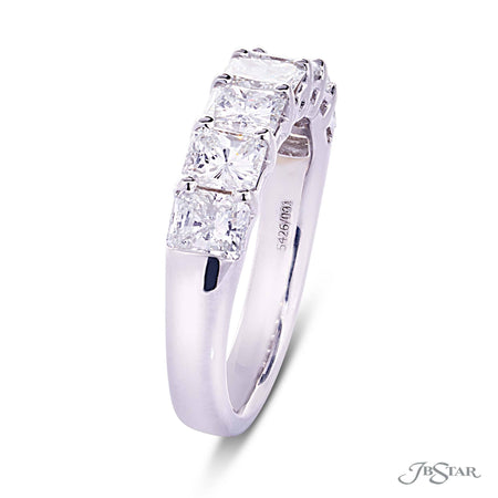 Dazzling diamond wedding band featuring 7 perfectly matched radiant cut diamonds in a shared prong setting. [details] Stone Information SHAPE TYPE WEIGHT Radiant Diamond 2.12 ctw. [enddetails] | JB Star 5426-001 Anniversary & Wedding