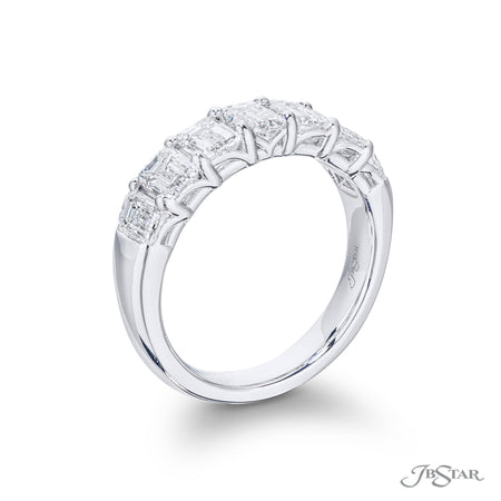 Beautiful diamond wedding band featuring 7 perfectly matched radiant-cut diamonds in a shared prong setting. Handcrafted in pure platinum. [details] Stone Information SHAPE TYPE WEIGHT Radiant Diamond 2.35 ctw. [enddetails] | JB Star 5429-003 Diamond Centers & Engagement