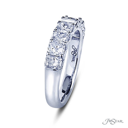 Gorgeous diamond wedding band featuring 9 radiant-cut diamonds in a shared prong setting. Handcrafted in pure platinum. [details] Stone Information SHAPE TYPE WEIGHT Radiant Diamond 1.75 ctw. [enddetails] | JB Star 5432-001 Anniversary & Wedding
