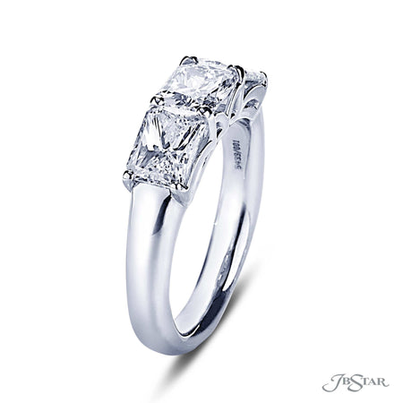 Gorgeous diamond wedding band featuring 3 radiant cut diamonds in our east to west design. Handcrafted in pure platinum. [details] Stone Information SHAPE TYPE WEIGHT Radiant Diamond 3.01 ctw. [enddetails] | JB Star 5433-001 Anniversary & Wedding