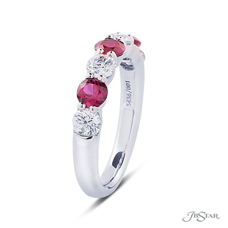 Beautiful ruby and diamond band featuring 4 round diamonds and 3 round rubies in an alternating shared prong setting. Handcrafted in pure platinum. [details] Stone Information SHAPE TYPE WEIGHT Round Diamond 0.82 ctw. Round Ruby 0.87 ctw. [enddetails] | JB Star 5436-001 Anniversary & Wedding