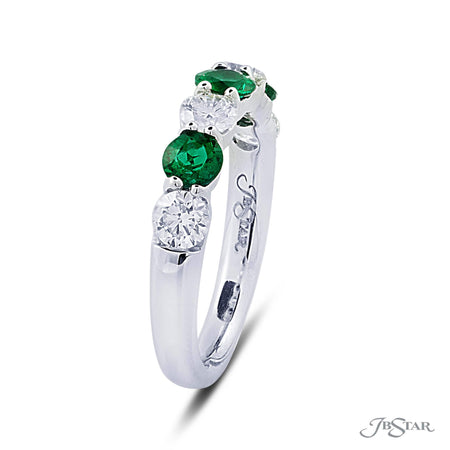 Beautiful ruby and diamond band featuring 4 round diamonds and 3 round emeralds in an alternating shared prong setting. Handcrafted in pure platinum. [details] Stone Information SHAPE TYPE WEIGHT Round Diamond 0.82 ctw. Round Emerald 0.67 ctw. [enddetails] | JB Star 5436-002 Anniversary & Wedding