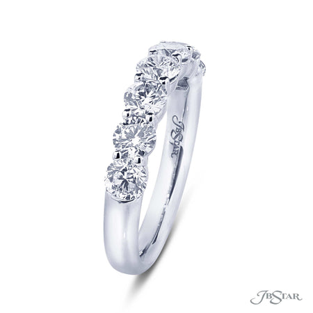 Gorgeous diamond wedding band featuring 7 perfectly matched round diamonds in a shared prong setting. Handcrafted in pure platinum. [details] Stone Information SHAPE TYPE WEIGHT Round Diamond 1.72 ctw. [enddetails] | JB Star 5436-003 Anniversary & Wedding