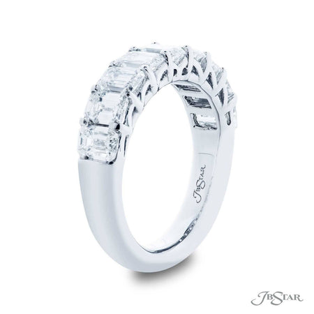 Stunning diamond wedding band featuring 9 emerald cut diamonds in a shared prong setting. Handcrafted in pure platinum. [details] Stone Information SHAPE TYPE WEIGHT Emerald Diamond 3.07 ctw. [enddetails] | JB Star 5437-002 Anniversary & Wedding