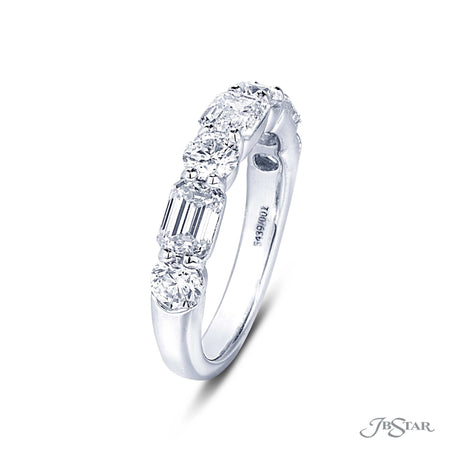 Beautiful diamond wedding band featuring 3 emerald cut diamonds and 4 round diamonds in alternating shared prong setting. Handcrafted in pure platinum. [details] Stone Information SHAPE TYPE WEIGHT Emerald Diamond 1.53 ctw. Round Diamond 0.95 ctw. [enddetails] | JB Star 5439-001 Anniversary & Wedding