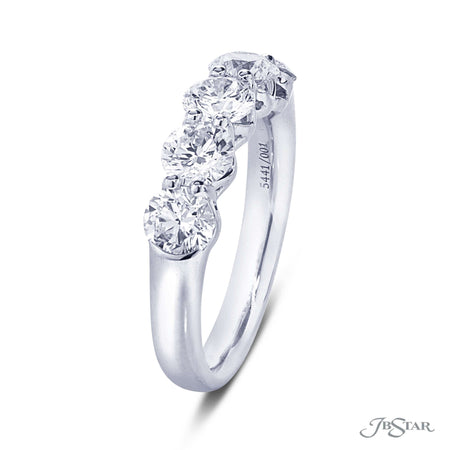 Gorgeous 5 stone round diamond band featuring perfectly matched round diamonds in a shared prong setting. Handcrafted in pure platinum. [details] Stone Information SHAPE TYPE WEIGHT Round Diamond 1.85 ctw. [enddetails] | JB Star 5441-001 Anniversary & Wedding