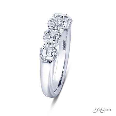 Dazzling diamond wedding band featuring 5 octagon shaped diamonds in a shared prong setting. Handcrafted in pure platinum. [details] Stone Information SHAPE TYPE WEIGHT Octagon Diamond 2.60 ctw. [enddetails] | JB Star 5443-002 Anniversary & Wedding